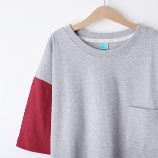 Short version of loose shoulder plain face Tee - dark red * gray