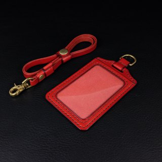 KH red straight ID card holder, card holder, leisure card, ID card holder, Italian vegetable tanned leather Buttero