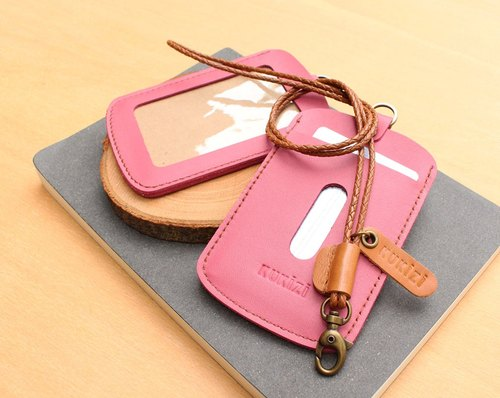 ID case / Key card case / Card case / Card holder - ID 1 -- Pink + Tan Lanyard (Genuine Cow Leather)