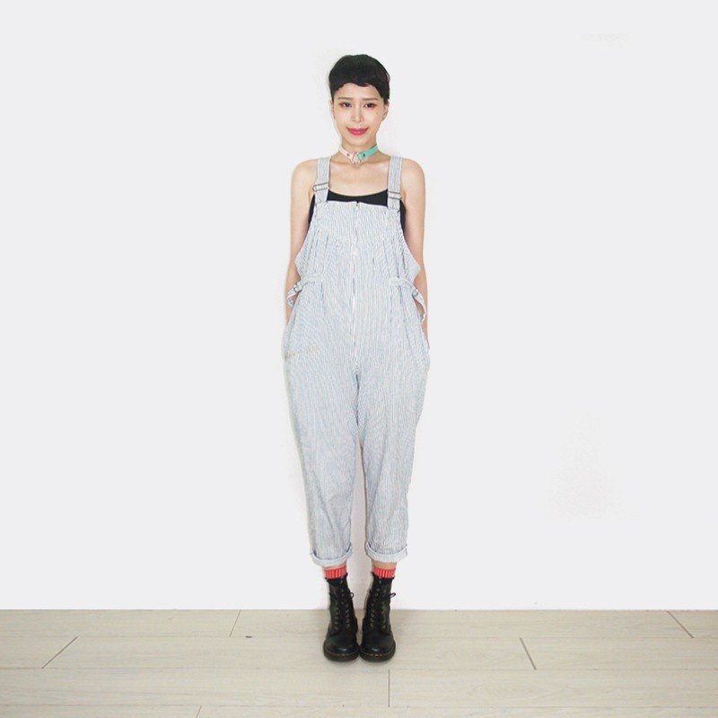 Vintage blue and white stripes suspenders trousers AR9023