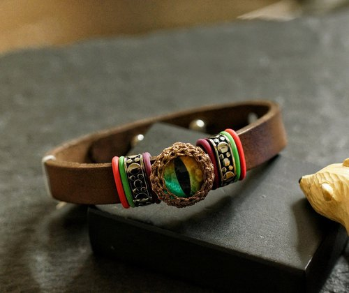 Cateye Leather Bracelet