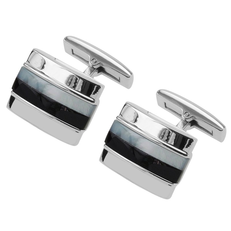 Stainless Steel Mother of Pearl and Onyx Stripes Cufflinks