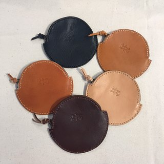 Handmade leather vegetable tanned round coin purse gift