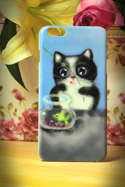 Watercolor cat fishing cat s006 David Videos Cat iPhone i5.i6s, i6splus / Android Samsung Samsung, HTC, Sony designer handsets shell / protective cover / kitty cat phone shell