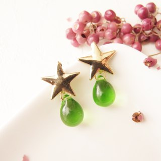 green. The things of the stars. Clip-on earrings, pin earrings