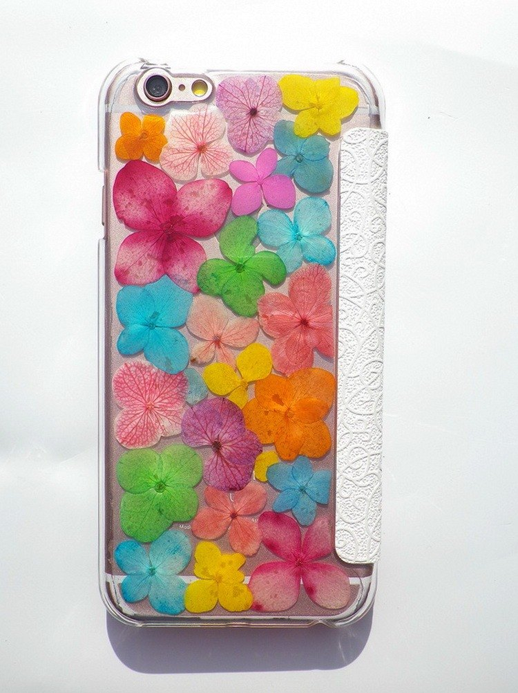 Anny's workshop hand-made pressed flower phone case for iphone 6 / 6S windows phone holster, color hydrangea
