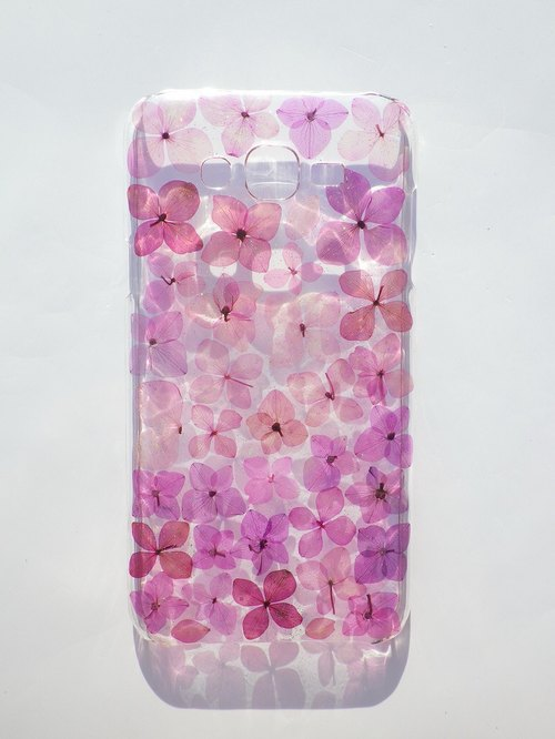 Handmade phone case, Pressed flowers phone case, Samsung Galaxy J7, Purple Hydrangea