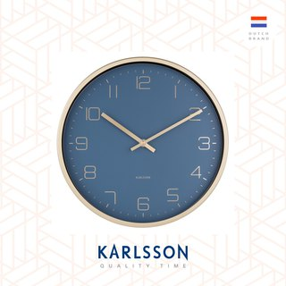 Karlsson 亮金框藍色掛鐘Wall clock Gold Elegance blue