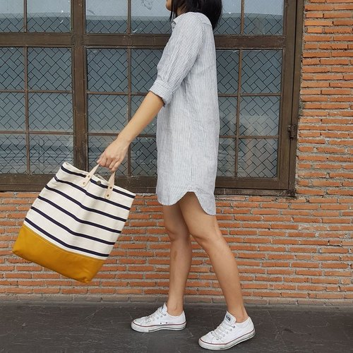 New Stripe Mustard Canvas Tote // Daily bag // Shopping bag // Messenger bag.