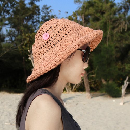 Limited manual cotton hemp linen cool soft and easy to incorporate pink crocheted hat Adventure