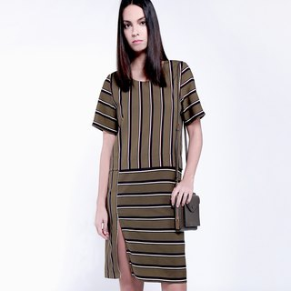 goody bag -  Olive green stripe dress and Deep grey - black velvet dress