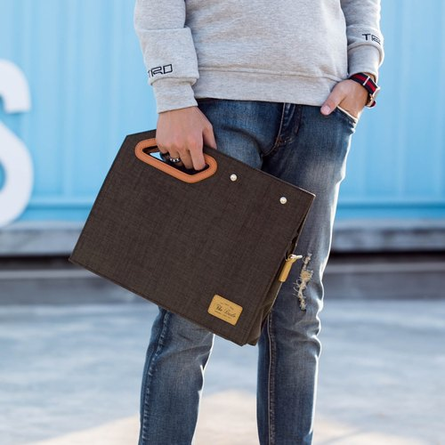 The Dude Brand Hong Clutch briefcase square light about character design Fashionista Mini - Brown