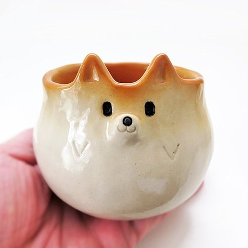 "Ceramics tableware ""Cup of Shiba Inu shape""  工房しろ 柴犬"