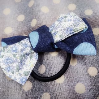 Blue small floral dot double bow hair ring