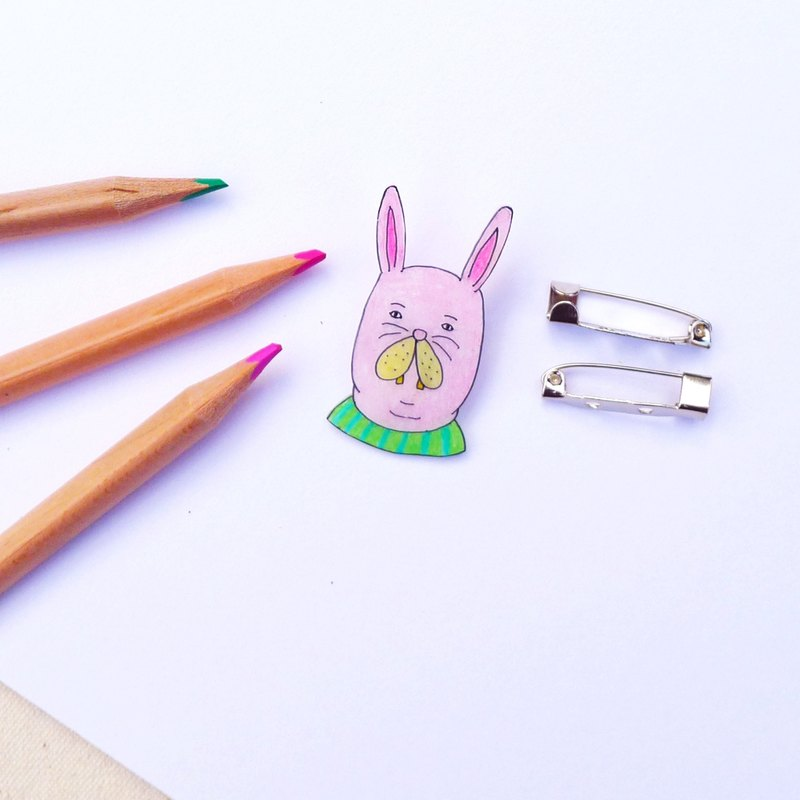 Hand-painted brooch - garden rabbit