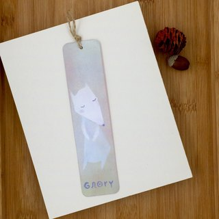 [Christmas Offer] hand-painted metal bookmark white fox - blue powder