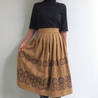 [Autumn New Works] woodblock print / pleated skirt / caramel brown [Order production]