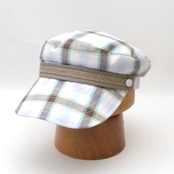 Marinated taste of Madras check Boy cap. Check marine cap - Brown × Blue 【PL 1268 - Blue】