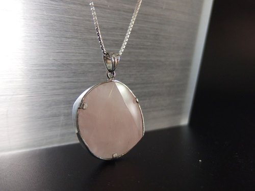 Natural Lotus Crystal Silver Pendant Rose Quartz Silver Pendant