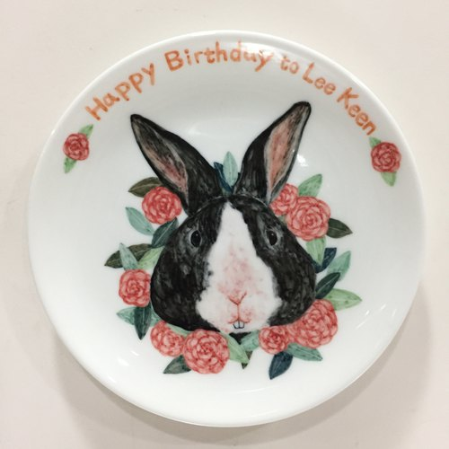 Rabbit treasure camellia wreath - customizable text] [6 inch hand-painted porcelain cake