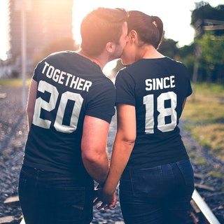 custom couple together since black t shirt