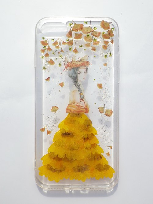 Pressed flower phone case, Handmade phone case, iphone 7, miss you