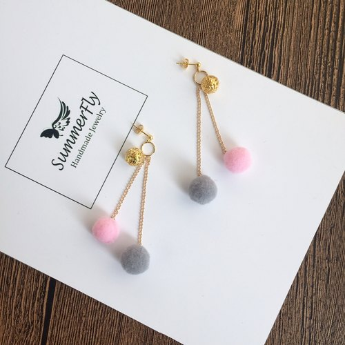 Love hit color! ❤️ ear clip can be changed! Cute plush ball ❤️ Peas gold earrings long earrings ear wire without pierced ears clip-on ear hook exchange birthday gifts