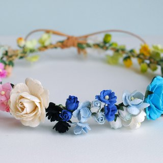 Paper Flower, Headband, Crown, ONLY ONE PIECE, Circle wild 20 cm.of white, blue, bright blue ,green, purple brush and yellow brush Color.