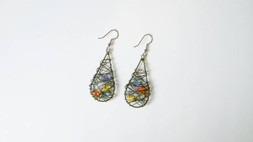 Christmas] [color hand-made X droplets natural stone earring