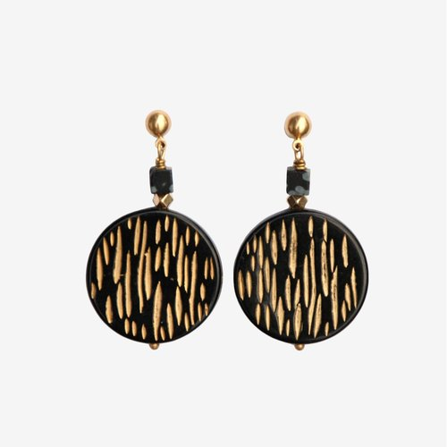 Etched Black Gold Vintage Acrylic Round Earrings