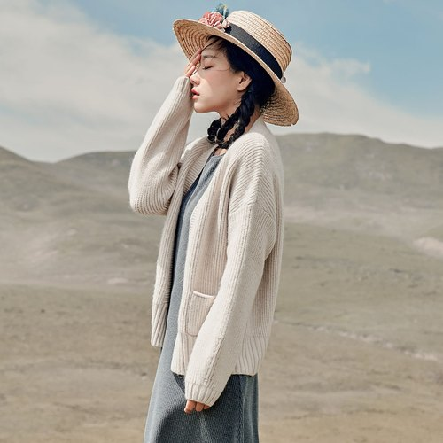 Anne Chen 2017 autumn new solid color collarless knitted jacket