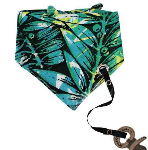 Tropical jungle print tied bib scarf (with nipple chain)