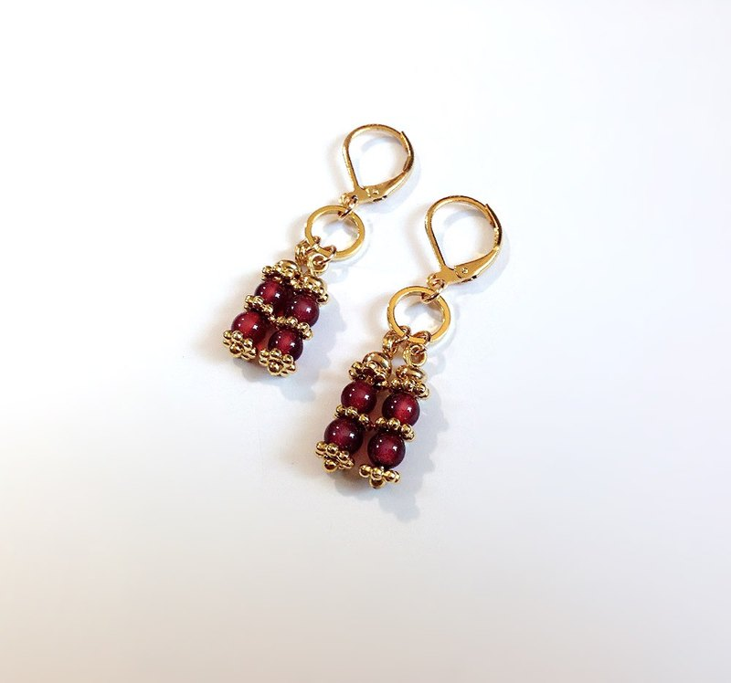 [system of gemstone]  Red Chalcedony Handmade Brass Gemini • Earrings  ( Can change folder type )