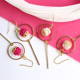 japanese style pierce earring / mizuhiki / japan / accessory / circle / pink