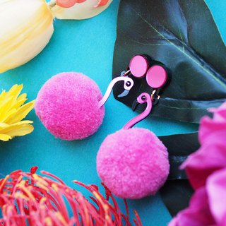 Flamingo Pom Pom Earrings