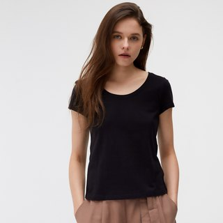 Organic cotton copper ammonia round neck Tee - black