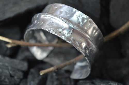Rustic sterling silver bracelet - handmade in Spain