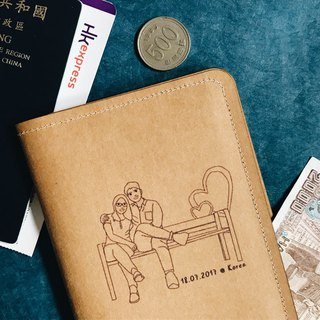 Customized portrait painting washed kraft paper Passport set