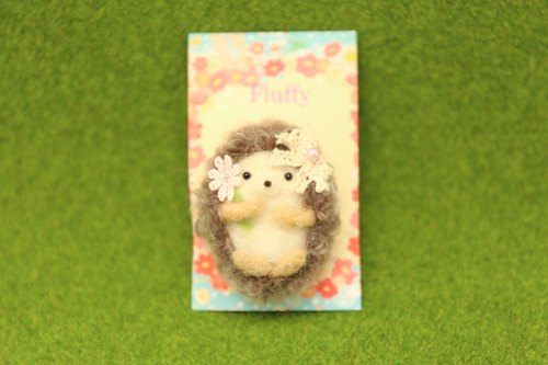 Wool felt hedgehog girl brooch bag charm