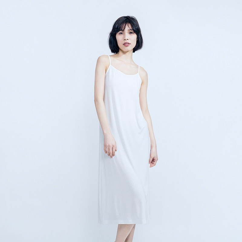 Bamboo fiber is already plain white camisole dress