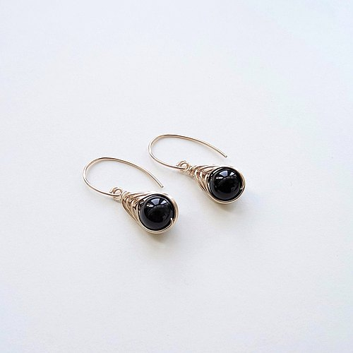 Black Onyx Herringbone Wire Wrapped Charm 14K Gold Filled Dangle Earrings