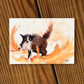 Watercolor Painted Hair Boy Series Postcard - Furious Cats
