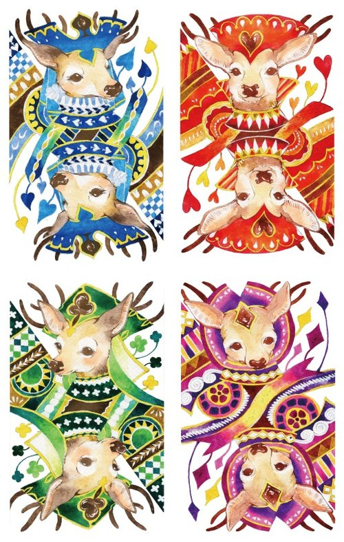 Poker Deer Postcard Set Poker Deer Postcard Set