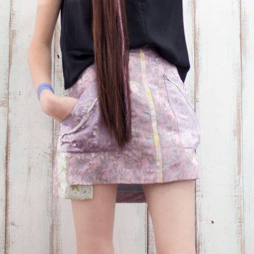 [Celebrate the opening of] purple spell color A-line skirt Lilac Brocade Skirt (Original 11800)