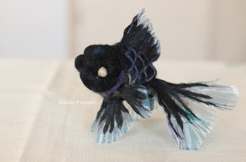 "Needle felted goldfish""Black oranda"""