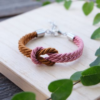 Cinnamon brown & Dusty rose knot rope bracelet