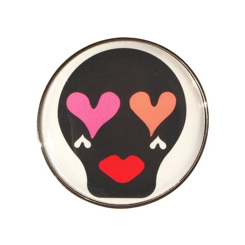 ♡ HEARTIC SUGARSKULL PIN BADGE / BLACK ♡ Heart of Sugar Skull ♡ pin badge / Black
