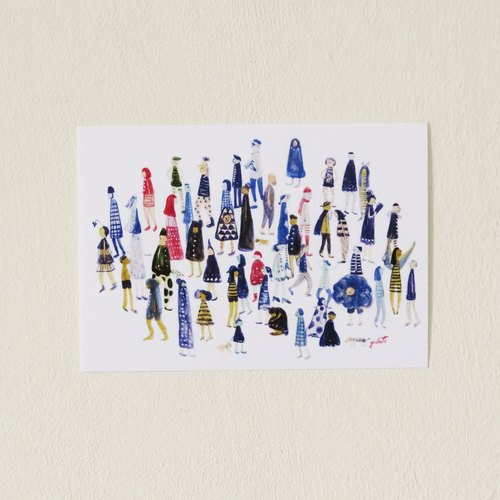 | Illustration postcard | Small Potatoes Fashion Show Series # blue
