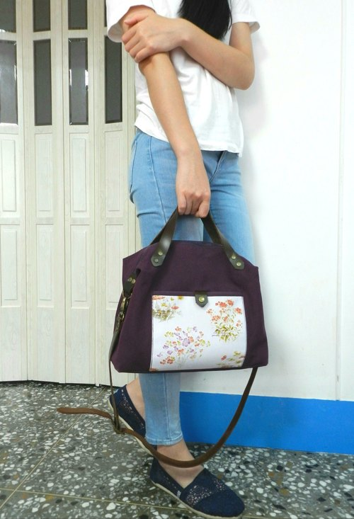 Japan 8 canvas series (leather handbag, shoulder strap) ~ ♡ dark purple flowers ♡ shoulder bag / handbag / cross backpack