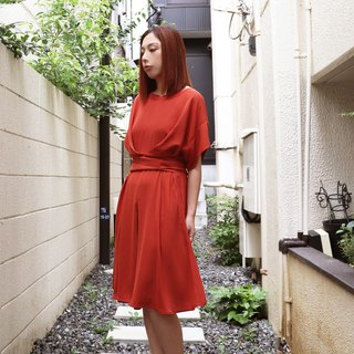 Draped Coral Dress Tie belt at waist - Red - Orange